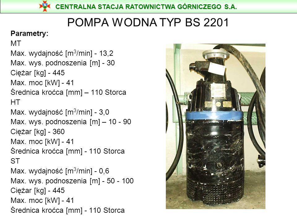 POMPA WODNA TYP BS 2201 Parametry: MT Max. wydajność [m3/min] - 13,2